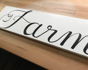 Farmhouse Wooden Sign, Farm Home Decor, Farmhouse Art, Hand Painted, Black and White