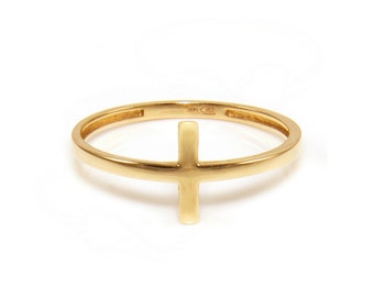 14K Solid Yellow Gold Sideways Cross Ring - Stackable Finger Knuckle Midi Thumb Religious Band