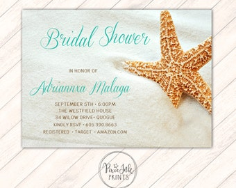 Starfish Bridal Shower Invite, Starfish Invitation, Starfish Wedding, Sweet Sixteen Invitation, Starfish Printable, Starfish Theme