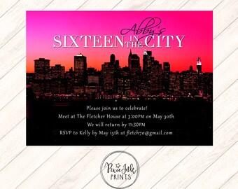 Sixteen in the City Invitation, Skyline Sweet 16 Invite, Fuschia Birthday Invitation, City Sweet Sixteen Invitation, Printable