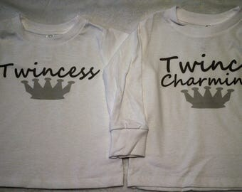 Twince Charming shirt/I'm a Twince shirt/Twince Charming bodysuit/Twince shirts/Twin boy shirt/Twin boy bodysuits/Twincess shirt