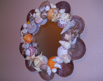Colorful shell embellished mirror