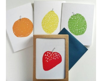 Set of 8, A2 foldover cards, assorted notecards, stationery set, Strawberry, Orange, Lemon, Lime, fruit art cards with navy envelopes