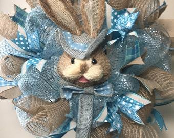 Blue Bunny Wreath