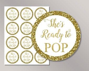 She's Ready to pop stickers, Ready to pop tags, Ready to pop Labels, Gold Baby Shower Décor, Cupcake Toppers Printable, Baby Shower ideas
