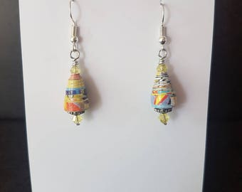 Paper Bead Earrings, Paper Bead and Swarovski Crystal Bead Earrings, Recycled, Upcycled, Trash to Treasure, One of a Kind Gift
