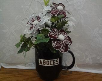 Texas A&M Fabric Flower Arrangement--S2171