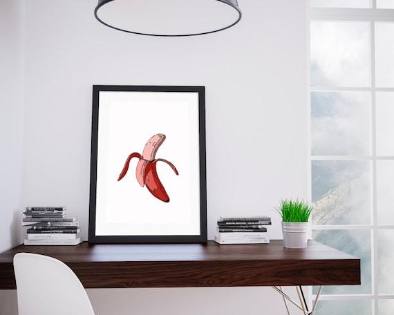 Red Banana. Digital Art, Printable Art, Inspirational Print.Tropical print,Kitchen wall decor,Food print, pop art print, Tropical wall decor
