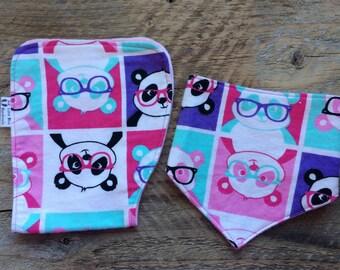 Set of flannel baby burp cloth, baby bib, baby bandana bib, dribble bib, drool bib, scarf bib, baby burp rag, flannel contoured burp cloth