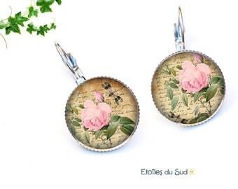 Vintage Peony, surgical steel hooks, ref.216 flowers earrings