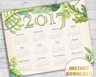 Wall Calendar 2017 Green Botanical Leaf Printable Calendar Digital Download 2017 Nature Calendar 2017 Monthly Planner Desk Botanical Vintage