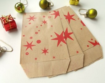 50 covers 7cm * 12.5 cm bags gifts Kraft stars red