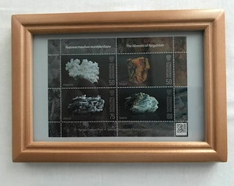 Framed Postage Stamp Wall Art. Minerals