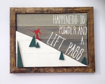 Ski sign, ski decor, ski lodge, happiness sign, 3-D ski art