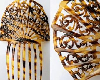 Large Art Deco Mantilla Faux Tortoiseshell Comb