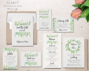 printable wedding invitation set printable greenery wedding invitation suite leafy wreath garden wedding calligraphy invite save