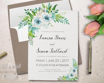 "printable floral wedding invitation printable green wedding invitation watercolor greenery wedding invite garden wedding invitation 5""x7"""
