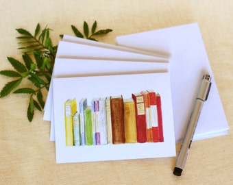 Blank Watercolor Library Book Note Card Set // Handmade Watercolor Note Cards, Gifts for Bookworms, Gifts under 30, Illustrated Book Card