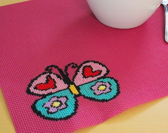 Placemat, Butterfly Placemat, Pink Placemat, Embroidery Placemat, Romero Brito Design