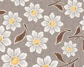 "LAST 31"" - Daisy Fabric - Riley Blake Daisy Cottage Fabric - Gray and Yellow Flower Fabric"