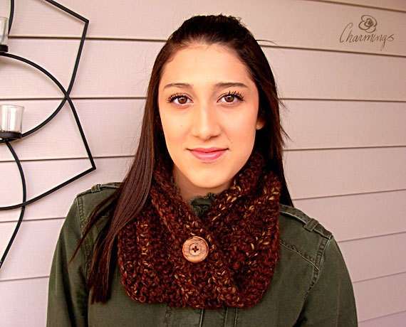 The Harper Crochet Neck Cozy, Rustic Fashion Neck Gator, Brown Crochet Cowl, Infinity Scarf