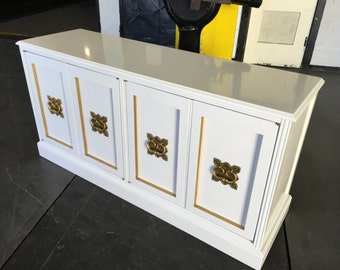 Mid Century Cabinet -sold modifiction example -painted in high gloss white lacquer w gold trim and replacement vintage hardware-sold example