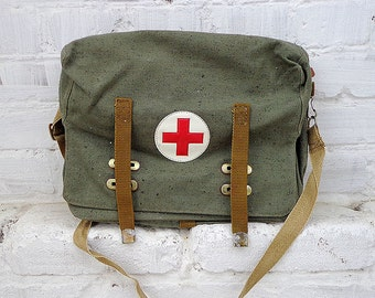 Retro army soviet medical bag // R.C. vintage russian 1990 made hospital nurse handbag