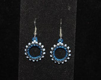 Black and Blue circular earrings