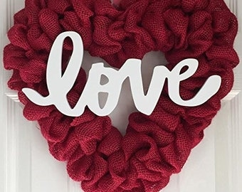 Red Burlap Heart Wreath - Heart Door Hanger - Heart Shaped Wreath - Heart Shaped Love Wreath - Burlap Heart Wreath - Burlap Love Wreath