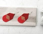 Fringe and Tassel Earrings, Red Bohemian Earrings