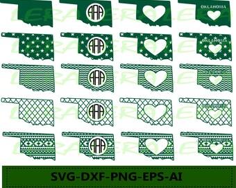 60% OFF, Oklahoma State SVG, Oklahoma Monogram Frames, Oklahoma Cricut file, Silhouette Vinyl Cutting file, Oklahoma dxf, svg,dxf,ai,eps,png