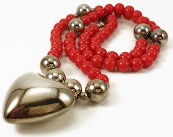 Vintage Silver Puff Heart with Red and Silver Beads