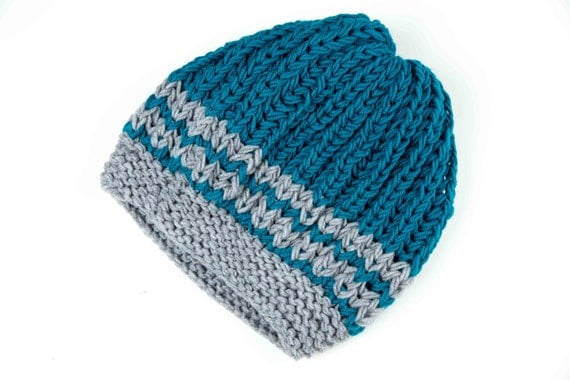 Knitted Baggy Hat in Teal and Gray, Slouchy Beanie Hat, Tam Hat, Dread Hat, Oversized Knit Hat, Unisex Rastacap, Christmas Gift,