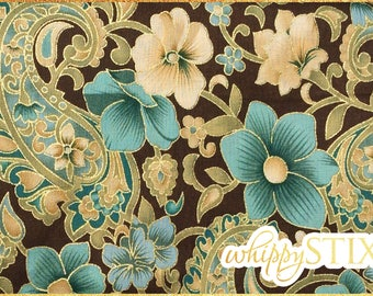 Merrakech Turquoise Brown Gold Floral Cotton Fabric By the Yard Floral Paisley on Brown Calico Fabric, Gold Metallic Accents Quilting Fabric