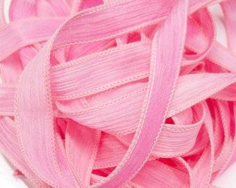 "1PC. BASHFUL PINK  42"" hand dyed wrist wrap bracelet silk ribbon//Yoga wrist wrap bracelet ribbons//Hand dyed Boho Silk wrist wrap ribbon"