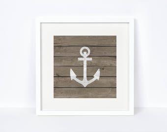 Bedroom Nautical Wall Decor - Anchor Print - Digital Print - Nautical Decor - Weathered Wood Wall Decor - Nursery Print - Baby Room Wall Art