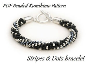 PDF Beaded Kumihimo Pattern - Stripes & Dots Kumihimo bracelet – bead layout instruction
