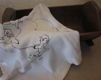 Sweet Vintage Lamb Baby Blanket