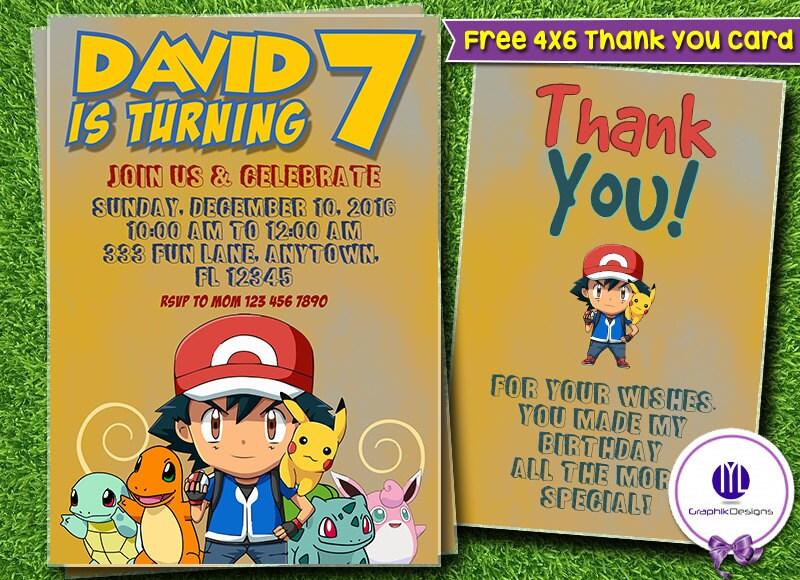 Pokemon Birthday Invitations Pokemon Invites Pokemon Printable
