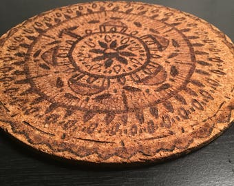 Cork Woodburned Hot Pad