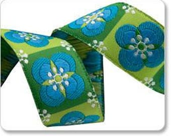 "7/8"" (22mm) Floral tiles jacquard ribbon"