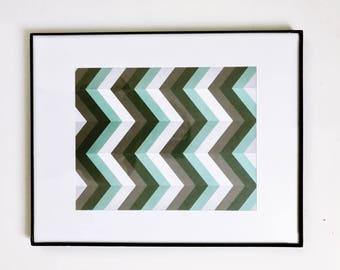 "Framed Matted Print - 11"" X 14"" - Gray & Teal Chevron print"