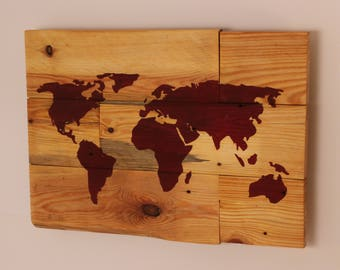 Map of the world as a mural on pallet timber