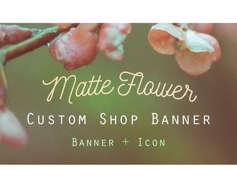 "Etsy Banner Set - Cover & Icon Shop ""Matte Flower"""