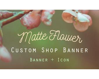 "Etsy Banner Set - Cover & Icon Shop ""Matte Flower"""