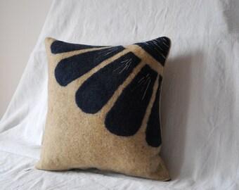 Handmade decoration flower Navy Blue felt cushion