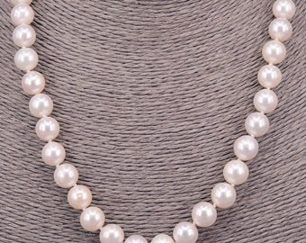 Pearl Necklace perfectly round 9-10 mm chain with Pearl PKE99
