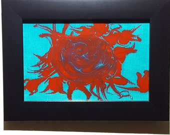 Rose - 4in by 6in framed painting