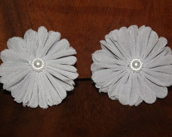Light Grey Chiffon Flower Hair Clips (Set of 2)
