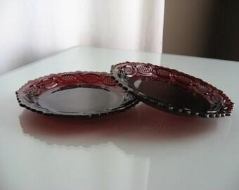 Vintage Avon Cape Cod Ruby Red Dessert Plates - 2